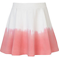 Girls white dip dye skater skirt