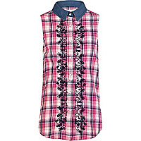 Girls pink check sleeveless embroidered shirt