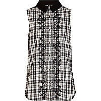 Girls black check embroidered shirt
