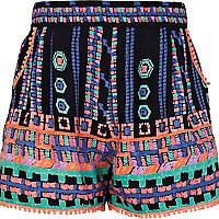 Girls blue aztec print shorts