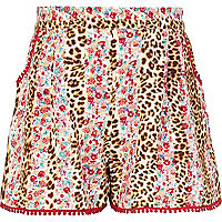 Girls brown leopard and floral shorts
