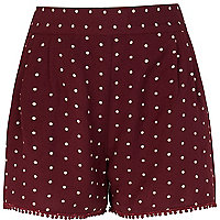 Girls dark red polka dot shorts