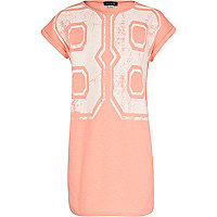 Girls coral 88 t-shirt dress