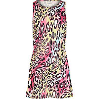 Girls pink leopard print skater dress