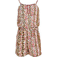 Girls brown leopard floral and print playsuit
