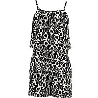 Girls black aztec print playsuit