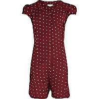 Girls red polka dot cut out playsuit