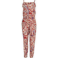 Girls red paisley jumpsuit