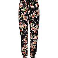 Girls dark blue floral trousers