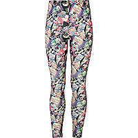 Girls black Barbie print leggings