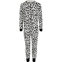 Girls black leopard print all-in-one