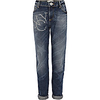 Girls mid wash NYC stud boyfriend jeans