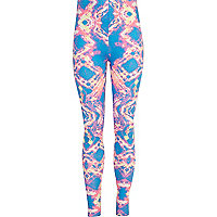 Girls blue tie dye print leggings