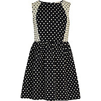 Girls navy polka dot skater dress