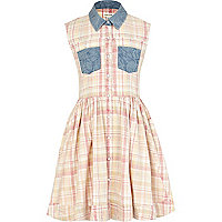 Girls beige acid wash check shirt dress