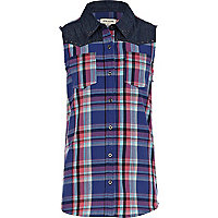 Girls purple check sleeveless shirt