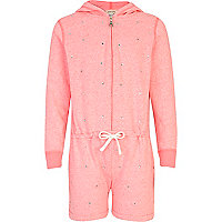 Girls pink diamante all-in-one