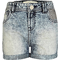 Girls blue acid wash studded denim shorts