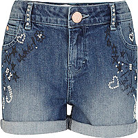 Girls blue graffiti embellished denim shorts