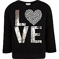 Girls black love heart sweat top