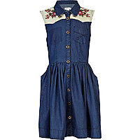 Girls blue mid wash shirt embroidered dress