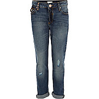 Girls blue mid wash boyfriend jeans