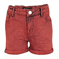Girls red acid wash denim shorts
