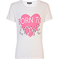 Girls white born to love studded t-shirt