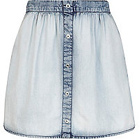 Girls blue acid wash denim skirt