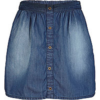 Girls blue mid wash denim skirt