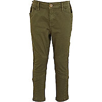Girls khaki cropped biker trousers