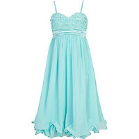 Girls blue chiffon Little MisDress dress