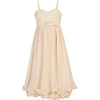 Girls beige chiffon Little MisDress dress