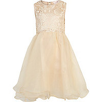 Girls cream Little MisDress prom dress