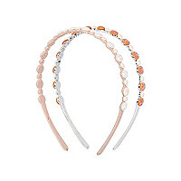 Girls coral two pack crystal headbands