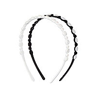 Girls black two pack crystal headbands