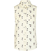 Girls cream cat print sleeveless shirt