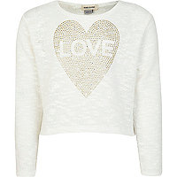Girls white studded love crop top
