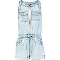 Girls blue light wash denim playsuit