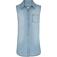 Girls blue light wash sleeveless denim shirt