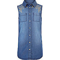 Girls blue studded sleeveless denim shirt