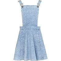 Girls light blue pinafore dress