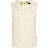 Girls cream embellished lace top