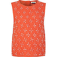 Girls red embellished lace top