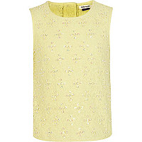 Girls yellow embellished lace top