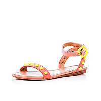 Girls coral neon studded sandals