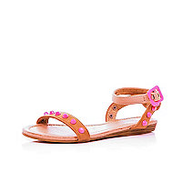 Girls brown neon studded sandals