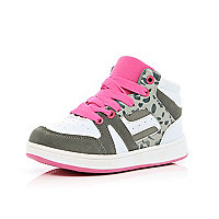 Girls grey and pink high tops