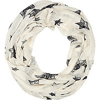 Girls cream scribble and star print scarf