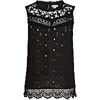 Girls black lace victoriana top